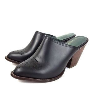 F Troupe & Son Booties Mules Black Leather Shoes